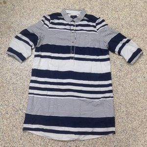 Silk Land's End Striped shirt dress plus size 18